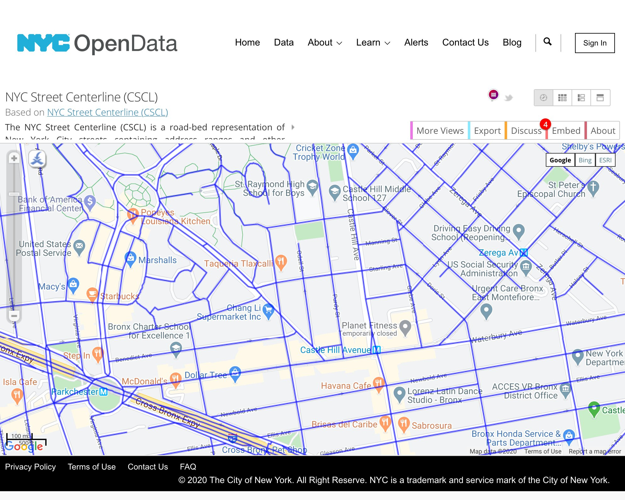 a screenshot from NYC Centerline showing a number of small roads with missing data
